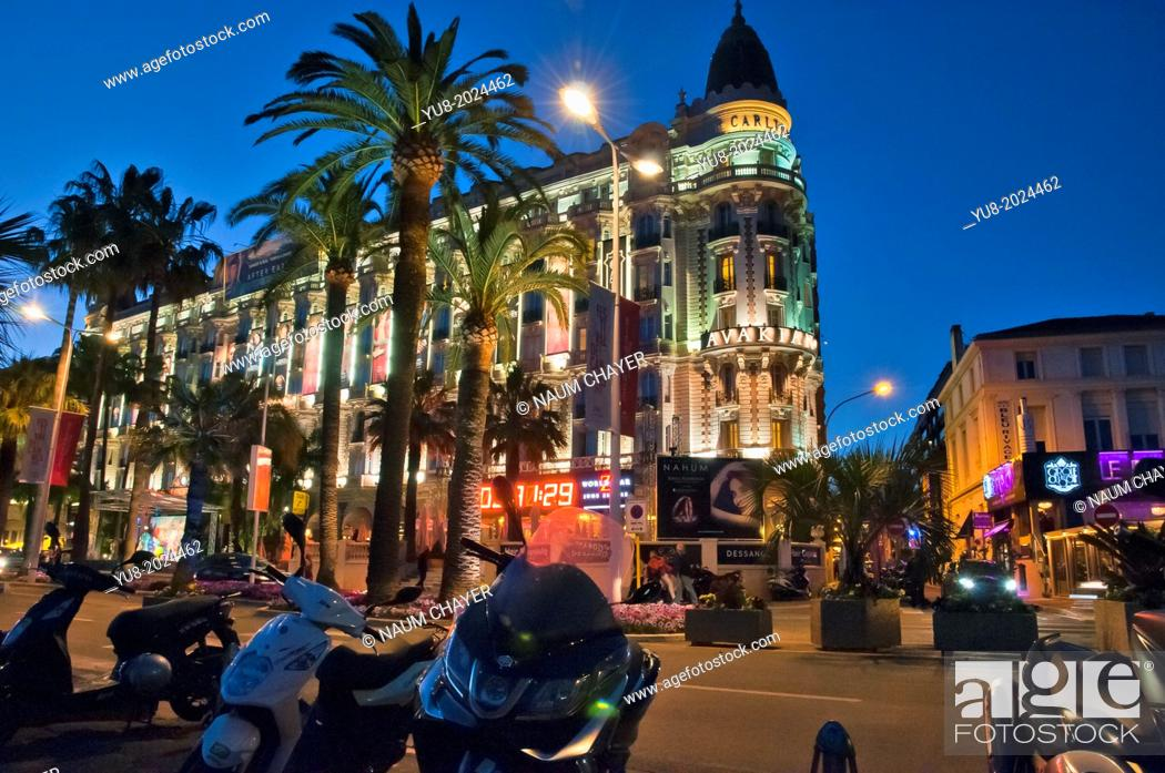 Stock Photo: ?he lights of the famous Hotel Carlton, Cannes, French Riviera, France.