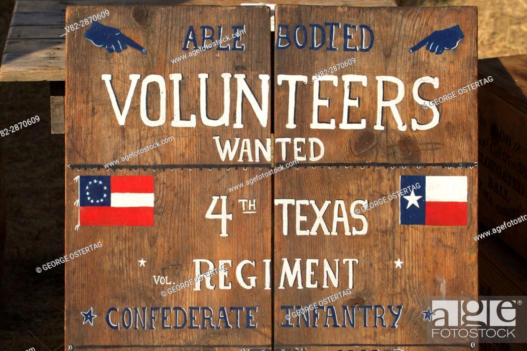 Stock Photo: Recruitment board, Civil War Re-enactment, Willamette Mission State Park, Oregon.