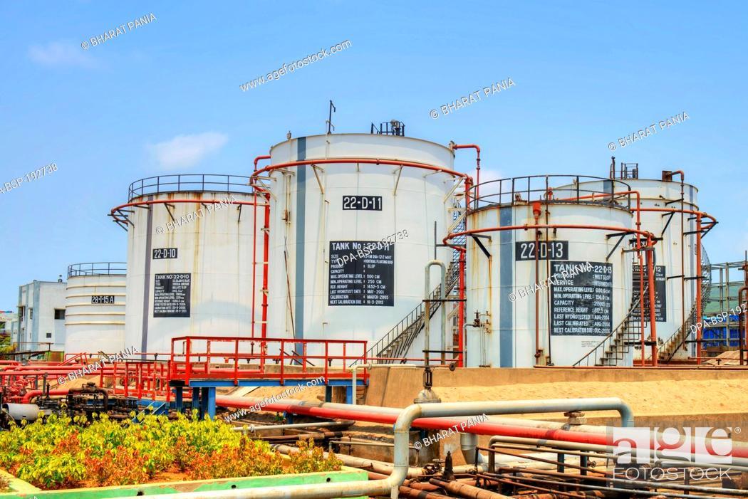 Oil Storage tanks Visakhapatnam andhra pradesh, Stock Photo