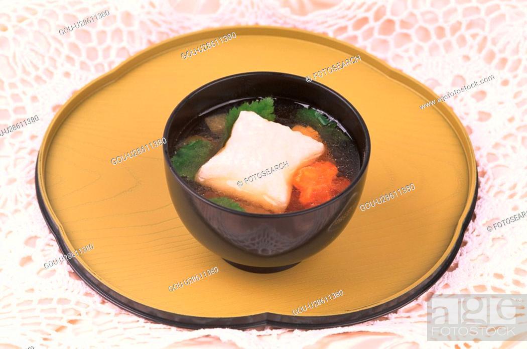 Stock Photo: Bowl Of Zoni On Tray.