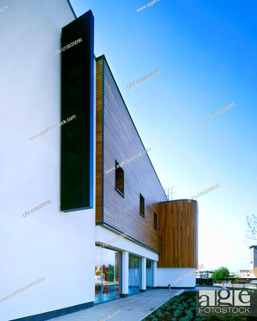 Stock Photo: Modern building with timber cladding.