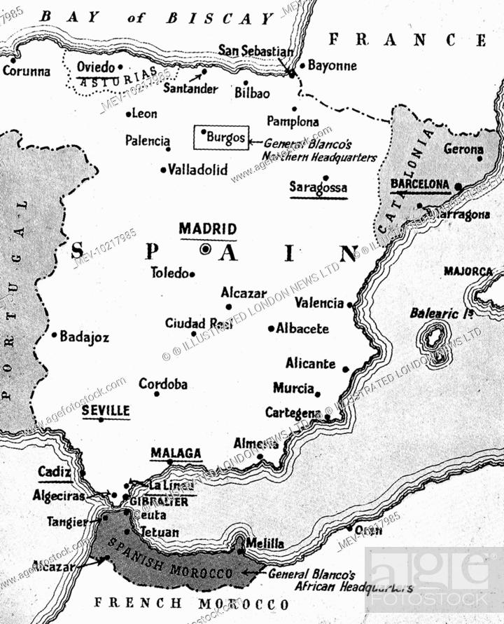 Map Of Spain Showing Murcia.Map Of Spain Showing The Situation At The Beginning Of The Spanish
