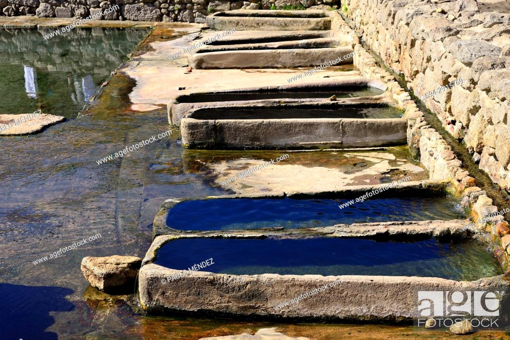 Stock Photo: Basins of Roman bath of Os Baños, Orense, Spain.