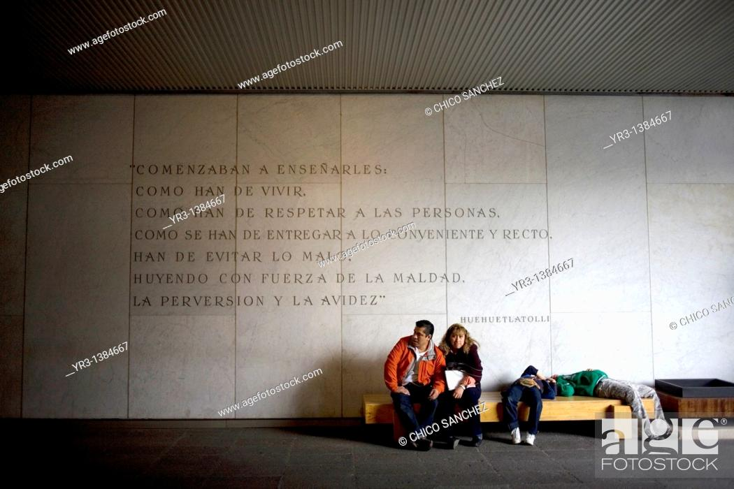 Stock Photo: A family rest in the National Museum of Anthropology in Mexico City, January 1, 2011  The National Museum of Anthropology and History museum is located in the.