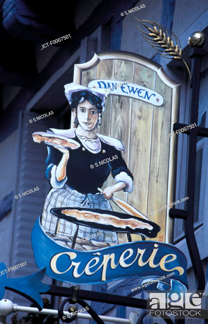 Stock Photo: France, Brittany, Crepe restaurant sign.