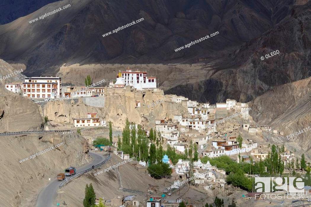 Stock Photo: Lamayuru Gompa is a Tibetan Buddhist monastery and big mountain. Ladakh, India. View of the village Lamayuru and mountains Himalaya.
