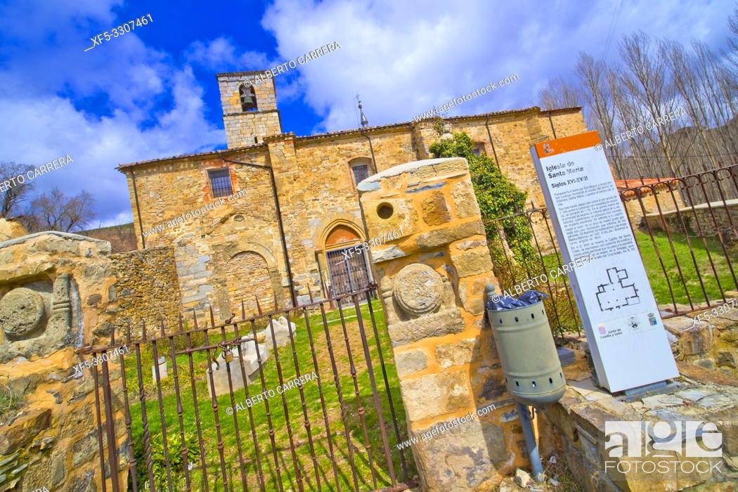 Stock Photo: Church Of Santa María, 15-18th Century Gothic Style, Yanguas, Soria, Castilla y León, Spain, Europe.