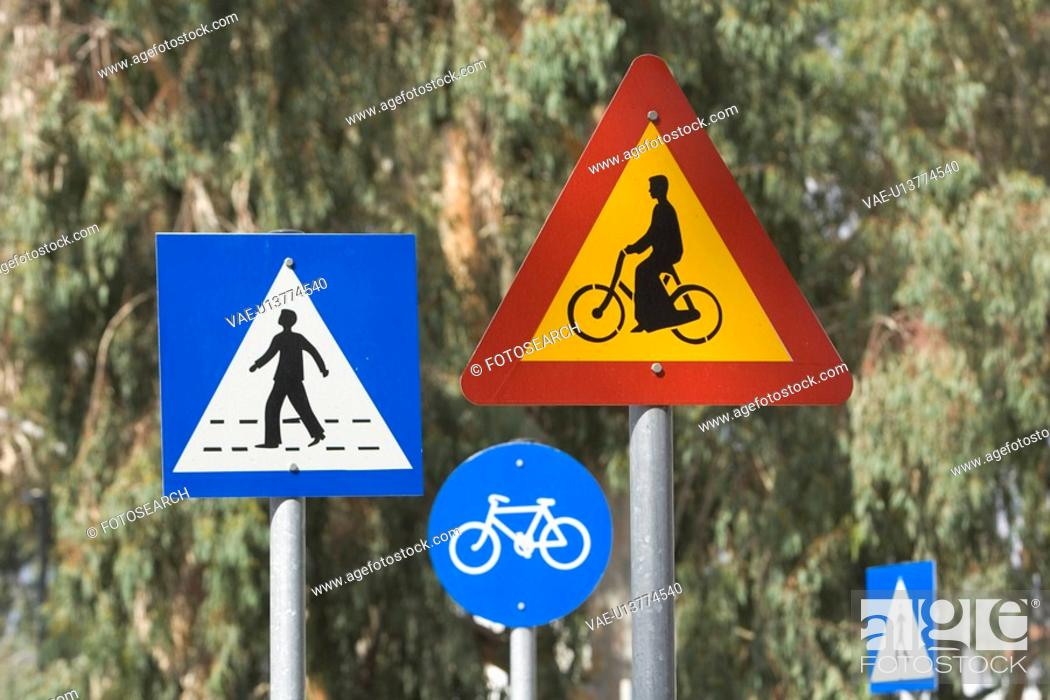 Stock Photo: Bicycle, Blue, Circle, Close-Up, Crossing Sign.