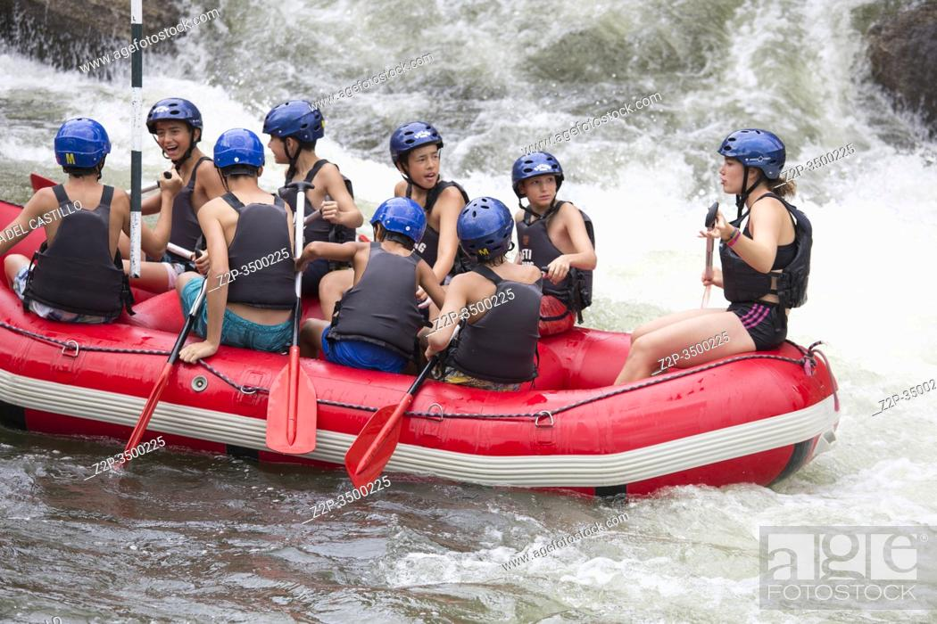 Stock Photo: SEO DE URGELL LLEIDA CATALONIA SPAIN: Rafting along the rough river rapids. Extreme vacation in nature.