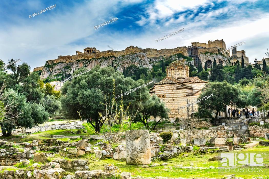 Stock Photo: Ancient Agora Market Place Byzantine Church of Holy Apostles Solaki Temple Erechtheion Parthenon Acropolis Athens Greece.