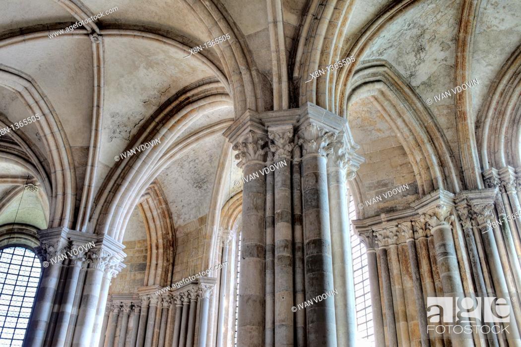 Stock Photo: Church Sainte Marie Madeleine Basilica of St  Magdalene, Vezelay, Yonne department, Burgundy, France.