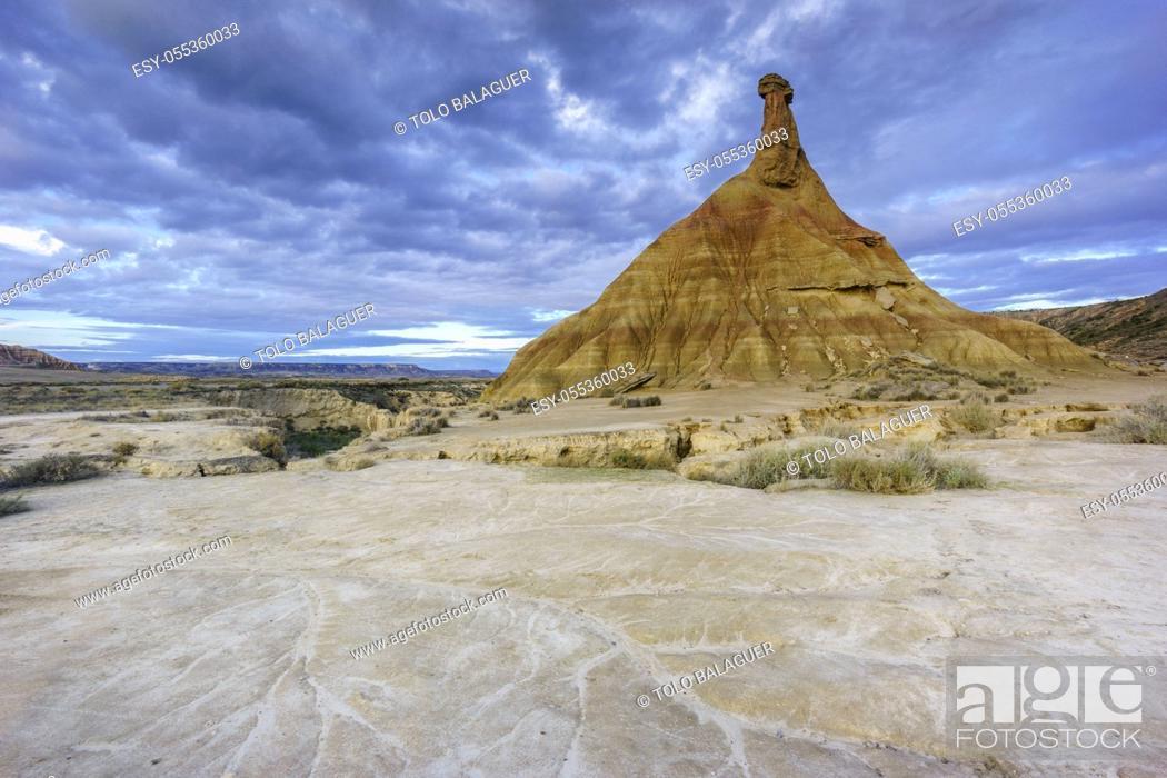Stock Photo: Castilltierra, Bardenas reales. Reserva de la Biosfera, comunidad foral de Navarra, Spain.