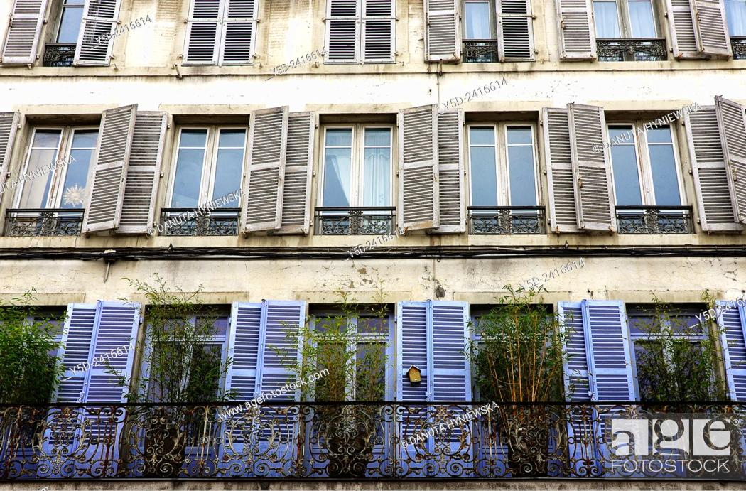 Stock Photo: Facade in Lons-le-Saunier capital of Jura department - préfecture (39), region Franche-Comté, East of France, Europe.