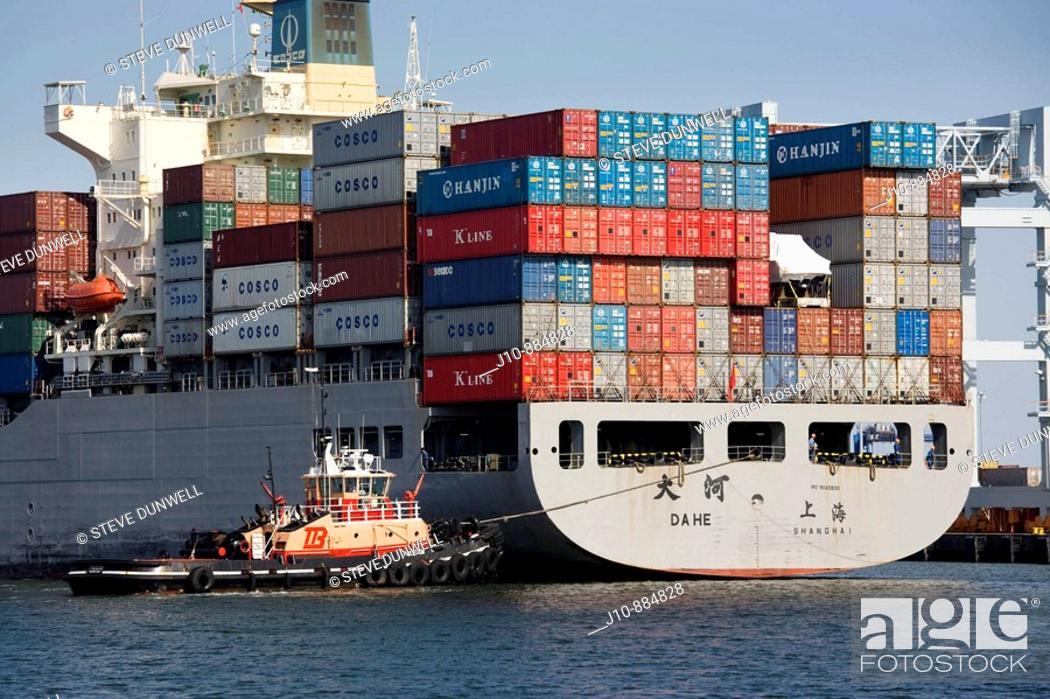 Stock Photo: Container ship at Conley Terminal, South Boston, Massachusetts, USA.