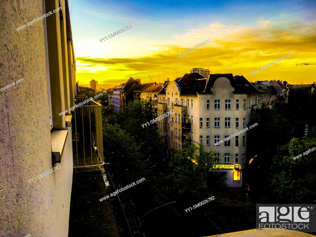 Stock Photo: Berlin, Germany. Beautifull View from an Airbnb room inside the German Capitol.