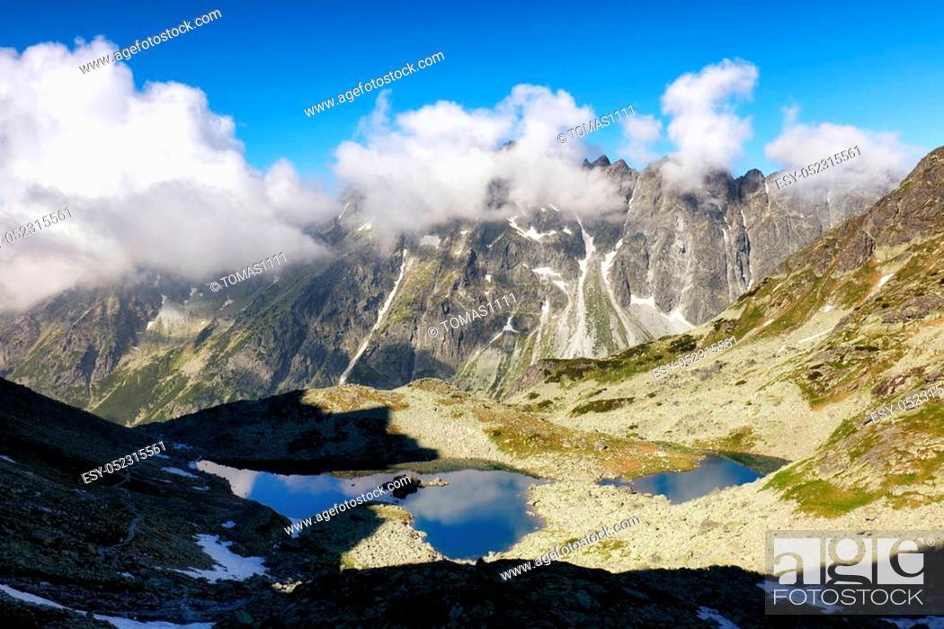 Stock Photo: Mountain and lake.