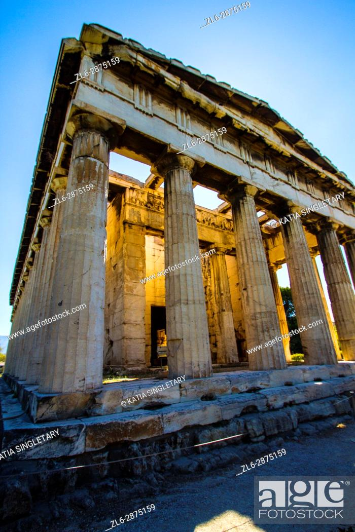 Stock Photo: Different view of The Temple of Hephaestus. That temple is dedicated to the god of metal-working and craftsmanship, is located on Agoraios Kolonos.