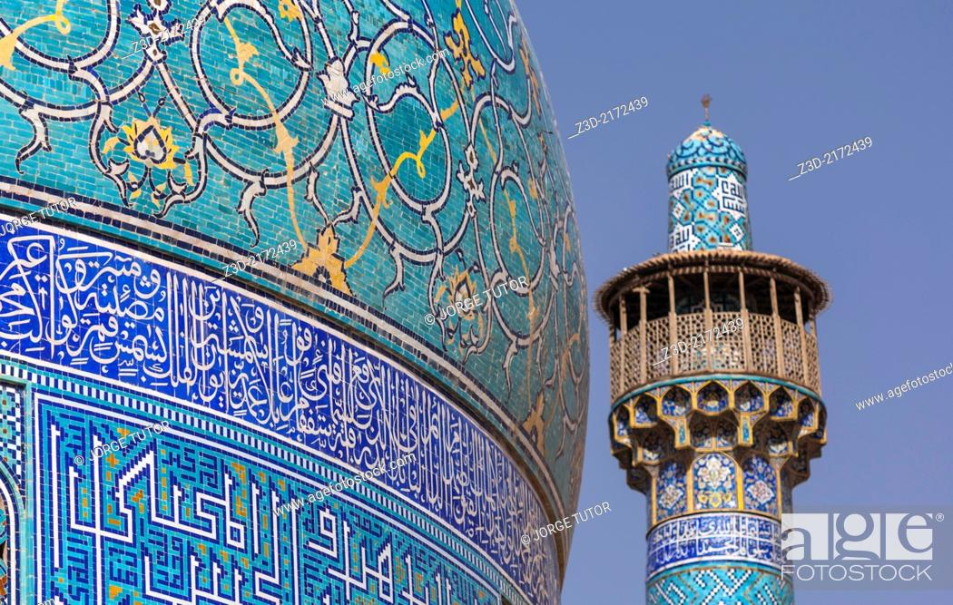 Imagen: Blue tiles in the dome and minaret characteristics of Imam Mosque. Isfahan. Iran.