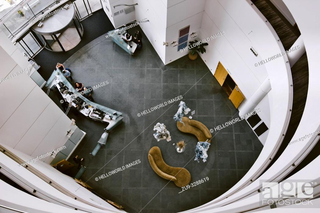 Stock Photo: St David's Hotel high angle view of the atrium and lobby, Cardiff Bay, Cardiff, Wales, United Kingdom.