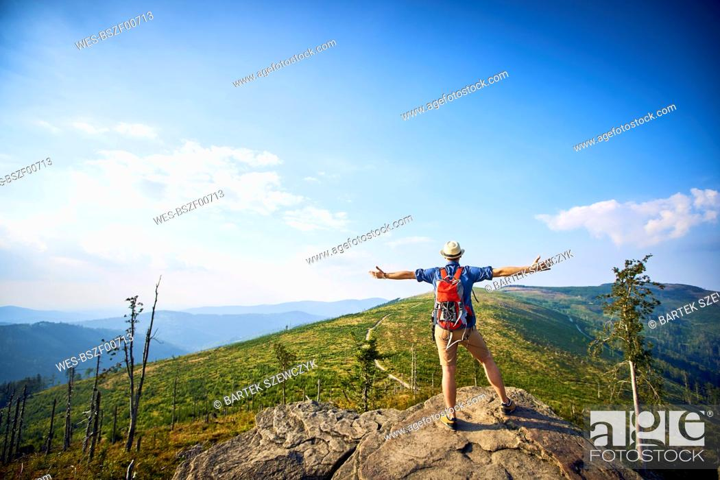 Photo de stock: Rear view of hiker in mountains enjoying the view.
