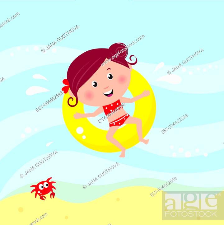 Stock Photo: Illustration of cute smiling girl swimming in the sea near beach.