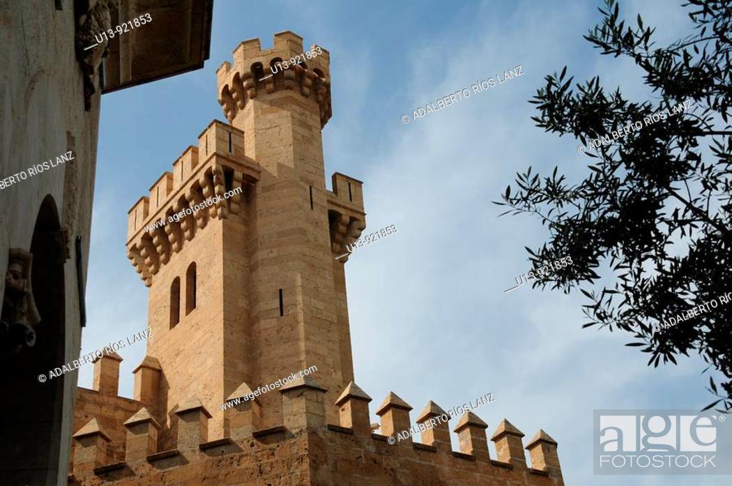 Stock Photo: Tower of Almudaina Palace, Palma de Mallorca. Majorca, Balearic Islands, Spain.