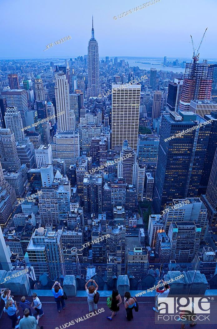 Skyline Of Manhattan With Empire State Building As Seen From Top Of