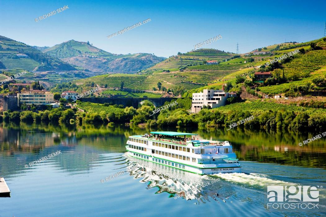 Stock Photo: cruise ship at Peso da Regua, Douro Valley, Portugal.