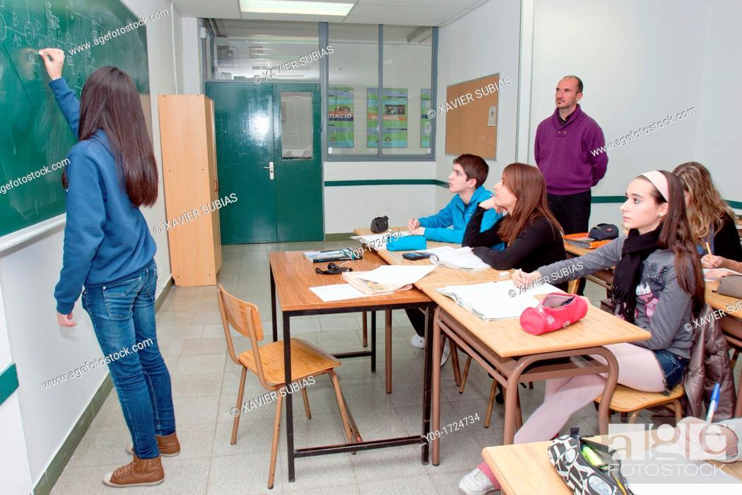 Stock Photo: Secundary school classroom, Salesians Sant Vicenç dels Horts, Baix Llobregat, Barcelona, Catalonia, Spain.