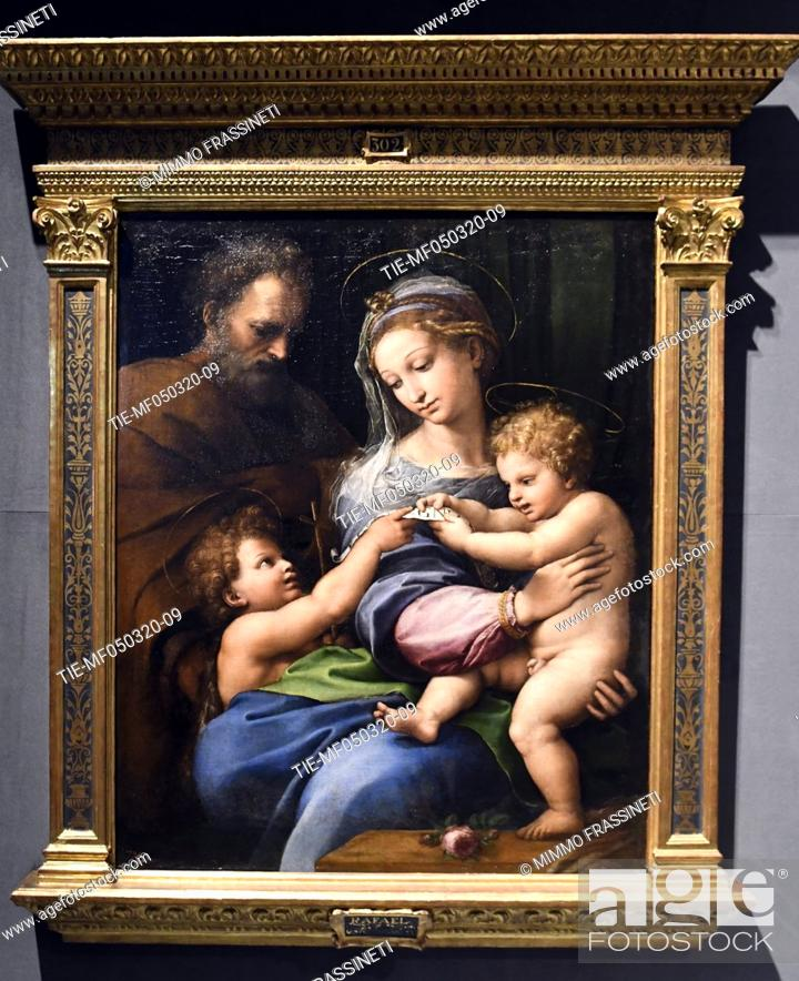 Stock Photo: ' Virgin of the rose ', 1520 by Raphael in Rome, ITALY-04-03-2020.