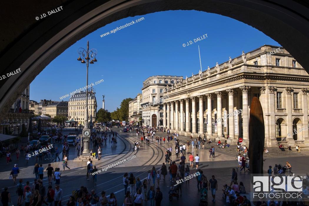 "Stock Photo: France, Nouvelle Aquitaine, Gironde, te """"Grand Theatre"""" at Bordeaux."