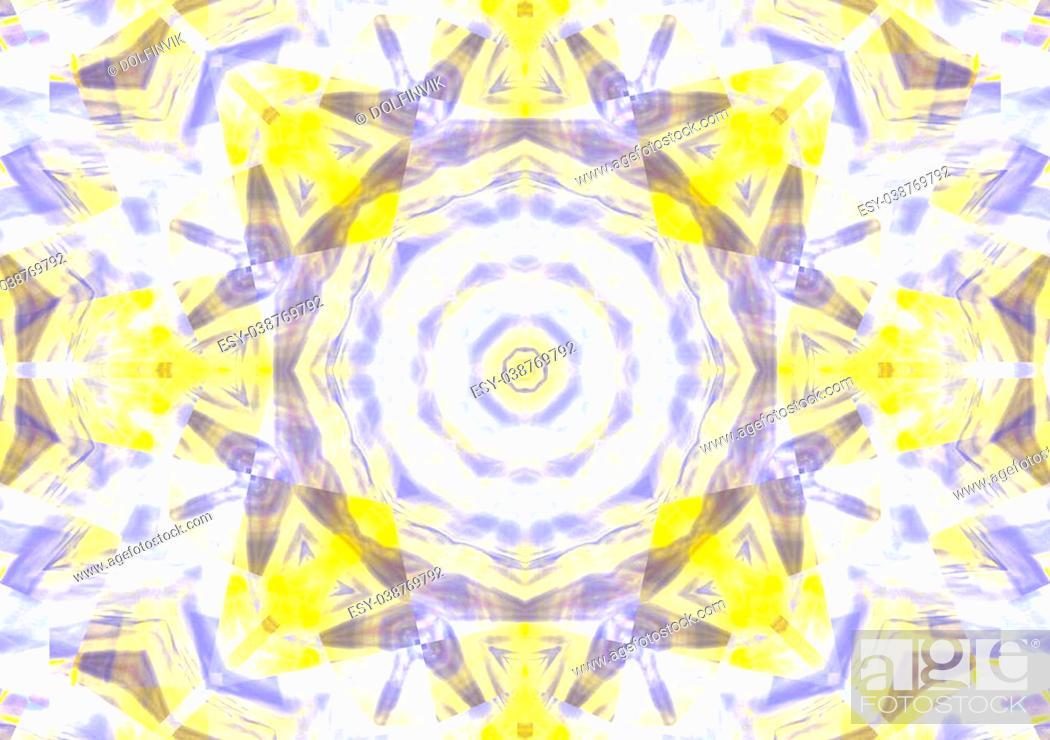 Stock Photo: Modern kaleidoscope background. yellow design star pattern.