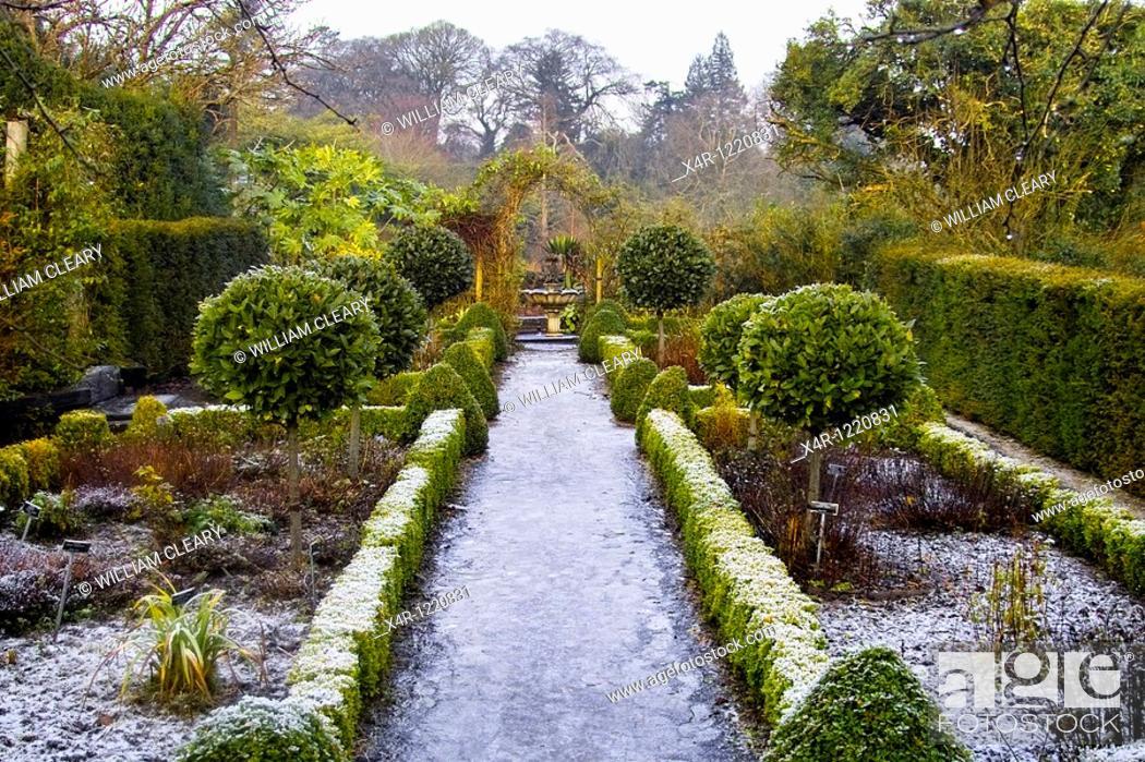 Stock Photo: The frozen gardens of Belvedere House, Mullingar, County Westmeath, Ireland in December.