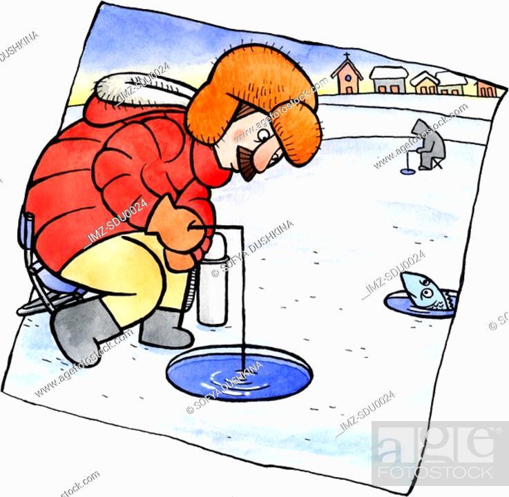 Stock Photo: A man ice fishing.