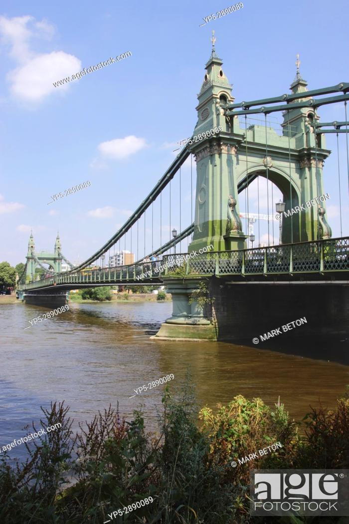 Stock Photo: Hammersmith Bridge and River Thames London.
