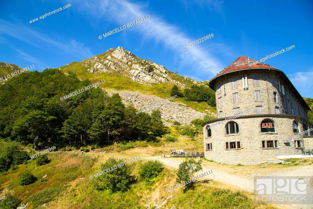 Stock Photo: italian restaurant on Gomito mountain, mountains of abetone, pistoia, tuscany, italy, in summer.