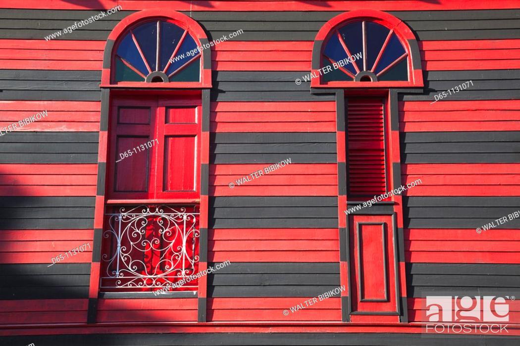 Stock Photo: Puerto Rico, South Coast, Ponce, Plaza Las Delicias, Parque de Bombas, firehouse museum, detail.