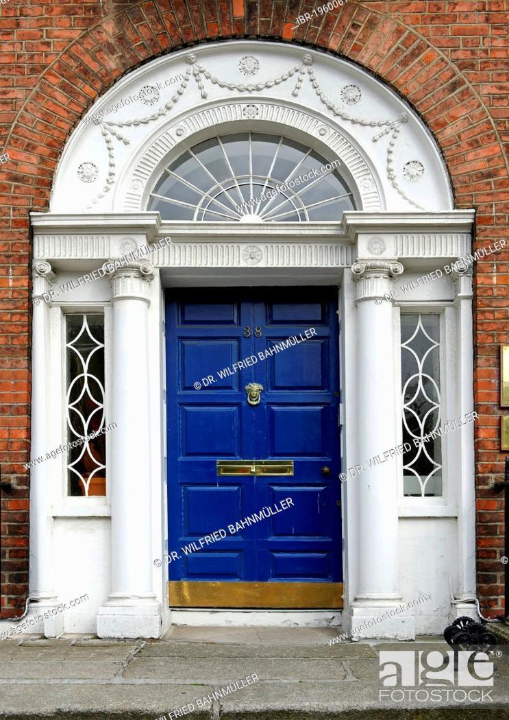 Stock Photo: Blue front door of a terraced house near Merrion Park, Dublin, Republic of Ireland, Europe.