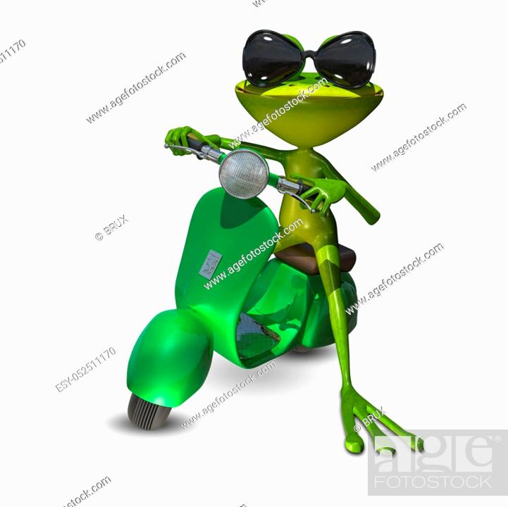 Stock Photo: 3D Illustration of a green frog on a motor scooter.