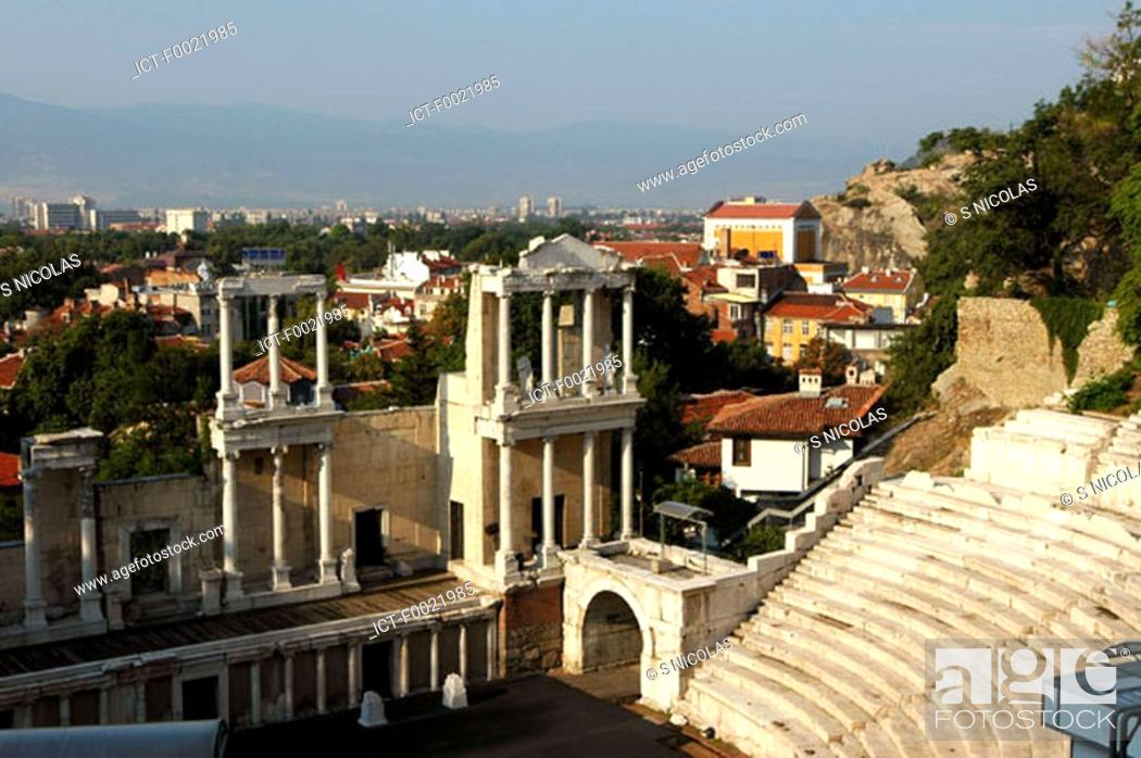 Stock Photo: Bulgaria, Plovdiv, Roman theater.