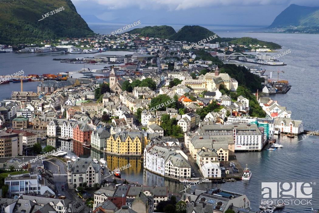 Stock Photo: City Overview from Mt. Aksia, Alesund, More og Romsdal, Norway, Europe.