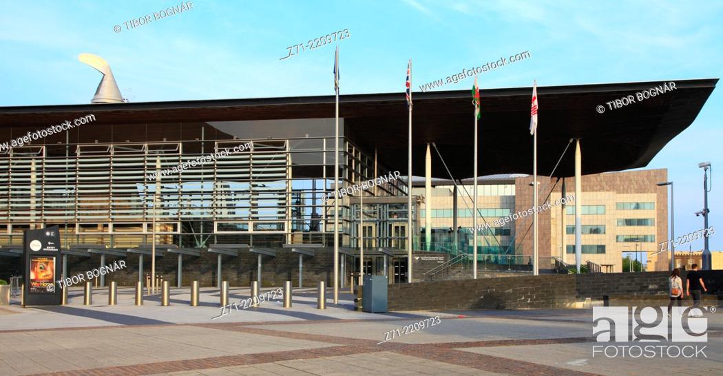 Stock Photo: UK, Wales, Cardiff, Bay, National Assembly for Wales, Senedd,.