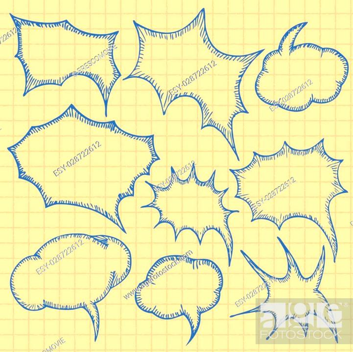 Stock Vector: Set of Bubbles. Isolated on white. Vector sketch bubbles.