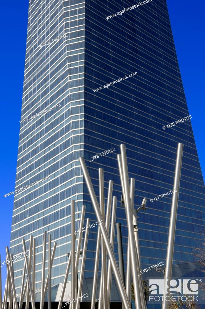 Stock Photo: View from below of a sculpture and Crystal Tower, located in Cuatro Torres Business Area of Madrid, Comunidad de Madrid, Spain, Europe.