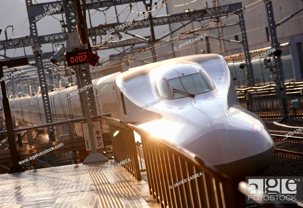 Stock Photo: Shinkansen high speed train, Railway station, Kyoto, Japan.