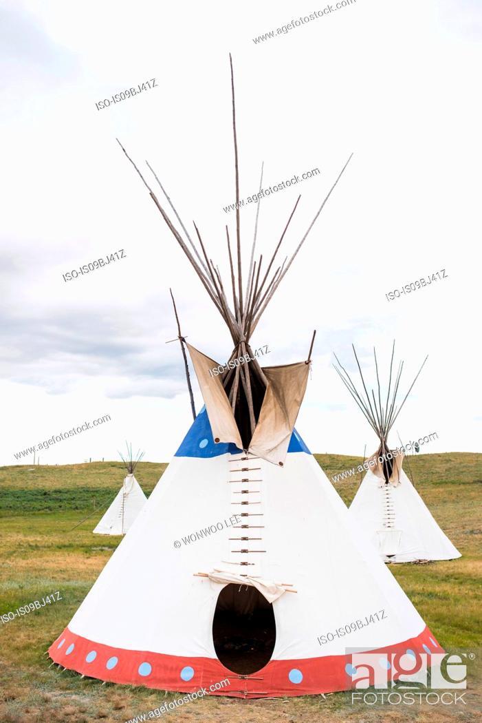 Stock Photo: Teepees on hillside, Browning, Montana, USA.