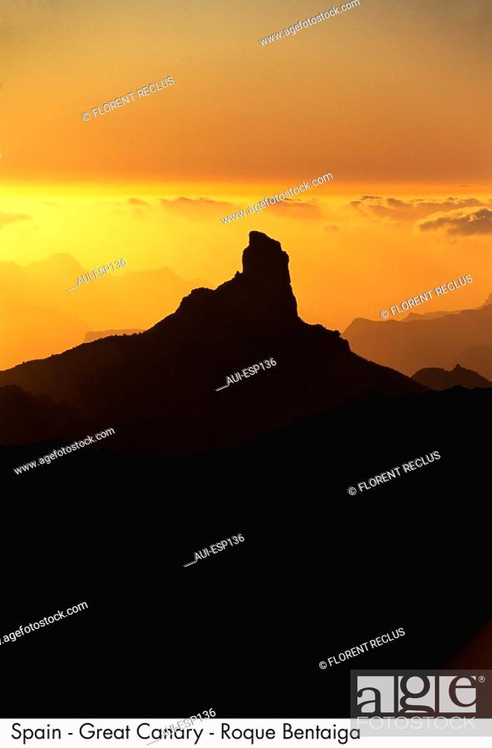 Stock Photo: Spain - Great Canary - Roque Bentayga.
