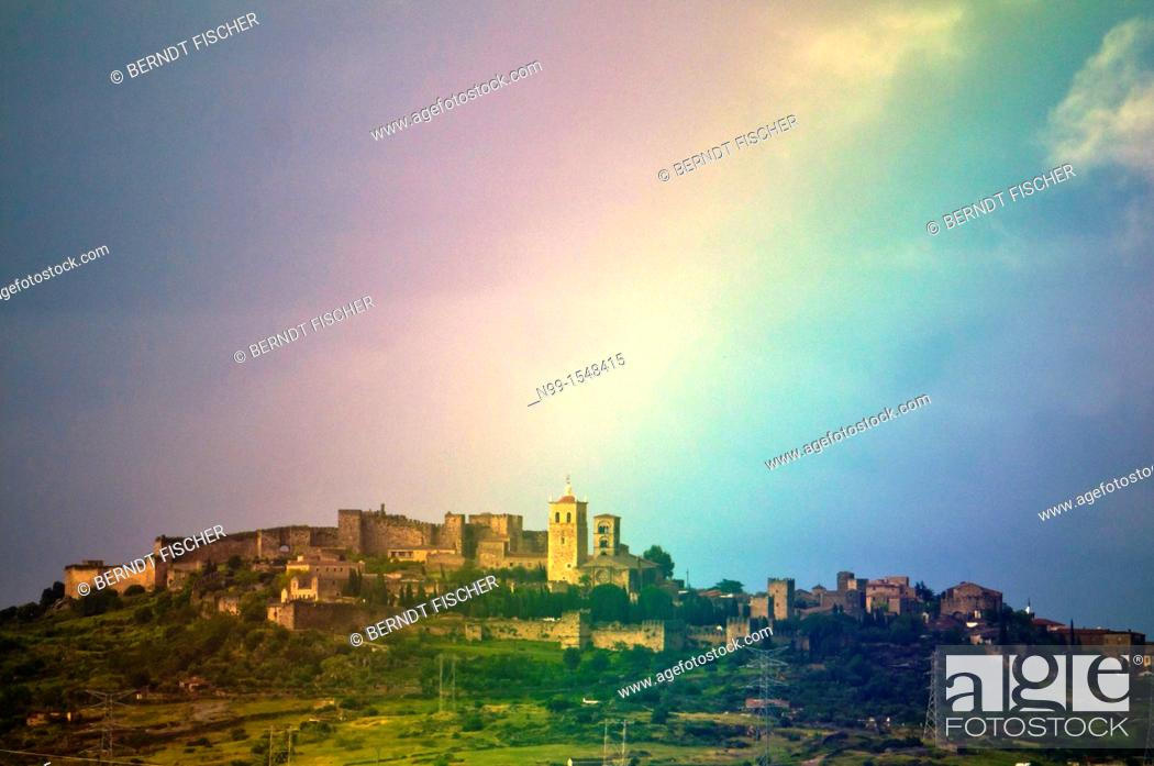 Stock Photo: Rainbow over Trujillo, Old Town, Caceres province, Extremadura, Spain.
