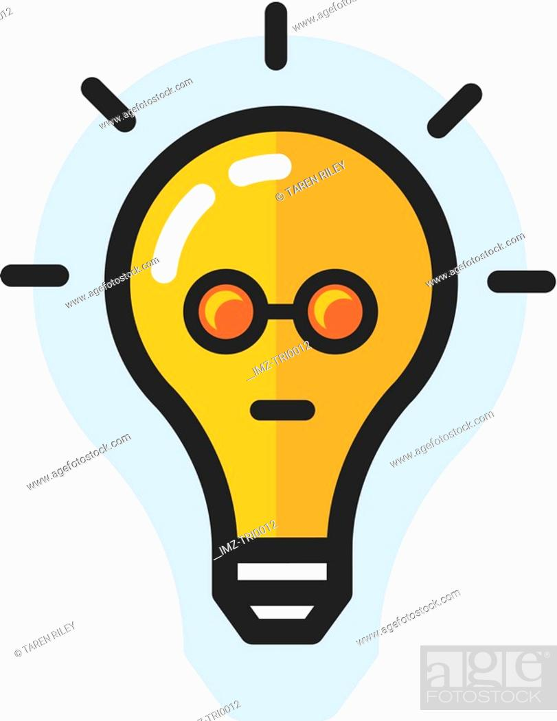 Stock Photo: Bright lightbulb with face.
