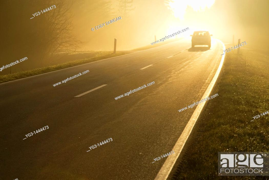 Stock Photo: Car driving into bright mist, Bavaria, Germany.